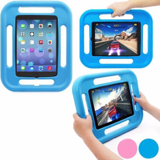 AL iPadケース 子供プレイ ケース アップル iPad mini123 衝撃吸収 チャイルドセーフ EVA発泡ゴム 4両面ハンドル ブルー AL-AA-3314