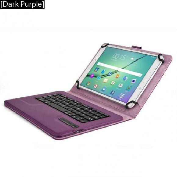 AL iPadケース キーボード ケース 9-10.1inch タブレット クーパー ユニバーサルキーボード 折りたたみ フォリオ ケース [Dark Purple] AL-AA-3319