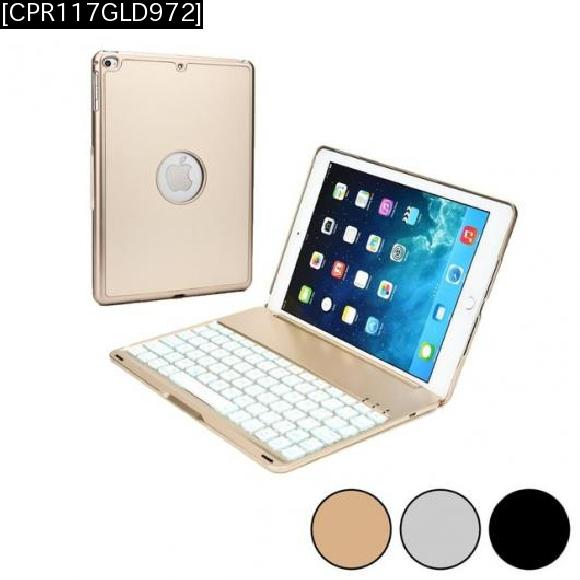 AL iPadケース キーボードアルミ ワイヤレス USBマイクロ iPad Air 2 ケース Bluetooth 3.0 バックライト [CPR117GLD972] [10-inch] [[10-inch] AL-AA-3321
