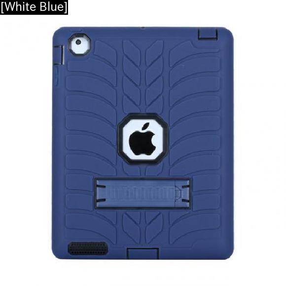 AL iPadケース iPad 4 9.7 防塵 トレンドスタイル ソフト シリコンPCハイブリッド保護 タブレット カバー [White Blue] AL-AA-3478