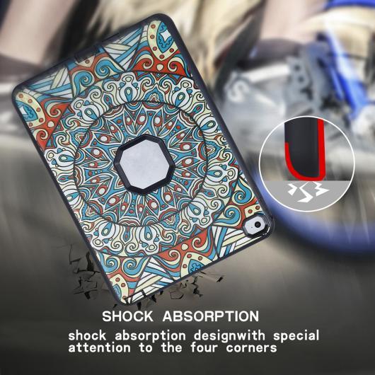 AL iPadケース iPad Air 2 iPad 6 9.7 保護 カバー シリコンハードPCハイブリッド スタンド タブレット 選べる3カラー ブラック,ブルー,ローズレッド AL-AA-3482
