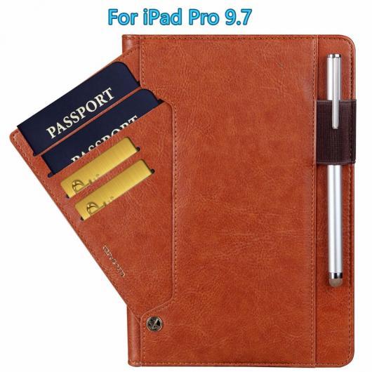 AL ペンシルホルダー iPad Pro 9.7プレミアム PUレザー オート ウェイク スリープ カバー W 回転カードスロット 選べる5カラー ブラック,レッド,ブルー,グレー,ブラウン AL-AA-3622