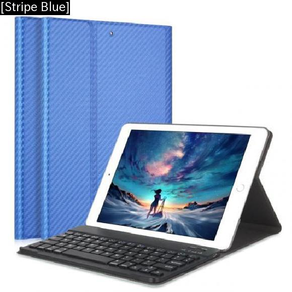 AL iPadケース iPad Air 1/2 キーボード カーボンファイバー PUレザー カバー 取り外し可能 Bluetooth 9.7インチ [Stripe Blue] AL-AA-3729
