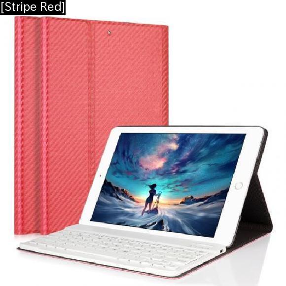 AL iPadケース iPad Air 1/2 キーボード カーボンファイバー PUレザー カバー 取り外し可能 Bluetooth 9.7インチ [Stripe Red] AL-AA-3730