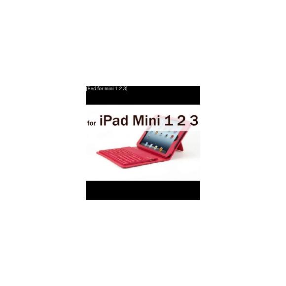 AL iPadケース キーボード iPad mini 1/2/3 PUレザー保護 フォリオ スタンド カバー Bluetooth [Red for mini 1 2 3] AL-AA-3597