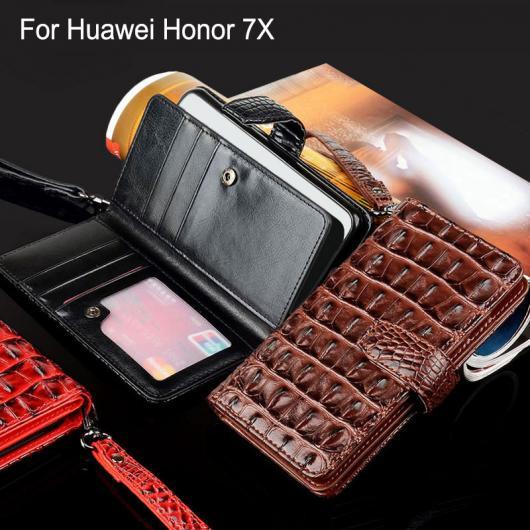 AL スマホケース Huawei ケース ワニヘビ レザー フリップ ビジネススタイル ウォレット 電話 カバー 選べる3カラー ブラック,レッド,ブラウン honor 7X AL-AA-5521