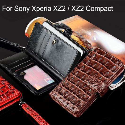 AL スマホケース ケース ワニヘビ レザー フリップ カバー カードスロット 選べる3カラー ブラック,レッド,ブラウン 選べる2適用品 Xperia XZ2,Xperia XZ2Compact AL-AA-5744
