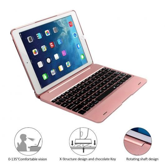 AL iPadケース iPad 9.7 2017 2018 A1893 ワイヤレス Bluetooth キーボード ケース カバー iPad 5 6 Air Air 2 Pro 9.7 キーボード 選べる4カラー ブラック,ゴールド,シルバー,ローズゴールド AL-AA-6357