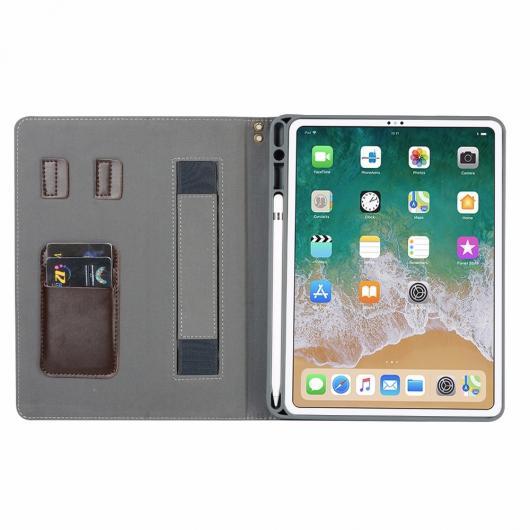 AL iPadケース プレミアム Apple iPad Pro 11 インチ 2018 オート 覚醒 スリープ カバー タブレットハンドストラップ ペンシルスロット 選べる3カラー ブラック,レッド,ブラウン AL-AA-6459