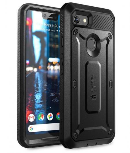 AL スマホケース Google Pixel 3XL ケース カバー プロフルボディ 堅牢 ホルスタークリップ保護 内蔵 スクリーン プロテクター 選べる4カラー ブラック,ホワイト,ブルー,ピンク PC+TPU AL-AA-6552