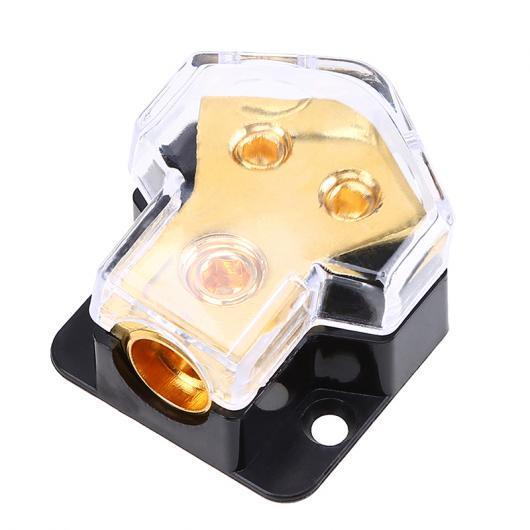 AL 車用ケーブル カー 電力分配ブロックヒューズ ホルダー ブラック+ゴールド 保護 オーディオ システム オペルフォード トヨタ ホンダ 1 In 2 Out AL-AA-6832