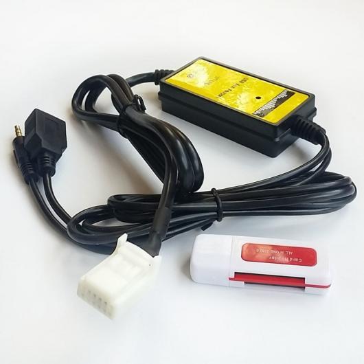 AL 車用ケーブル 3.5 mm AUX USB ケーブル 6+6 リア オーディオ ポート音楽 アダプタ カムリ カローラ RAV4 AL-AA-6752
