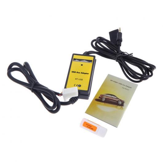 AL 車用ケーブル オート USB AUX 入力 アダプター MP3 プレーヤーラジオインターフェイス トヨタ カムリ カローラ マトリックス 2×6PIN AL-AA-6811