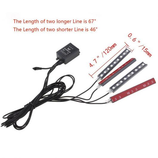 AL 車用ケーブル ランプカースタイリング LED 4ピース RGB ストリップライト 色 カラフル カー インテリア装飾 リモコン AL-AA-7412