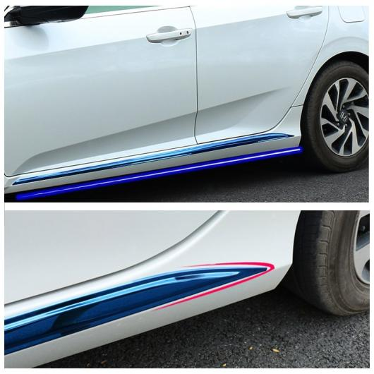 AL 車用メッキパーツ 2ピース ステンレス スチール 外装下ドアトリム装飾ステッカーホンダシビック 2016 2017 選べる3バリエーション 2pcs-blue/2pcs-silver/2pcs-black AL-AA-7572