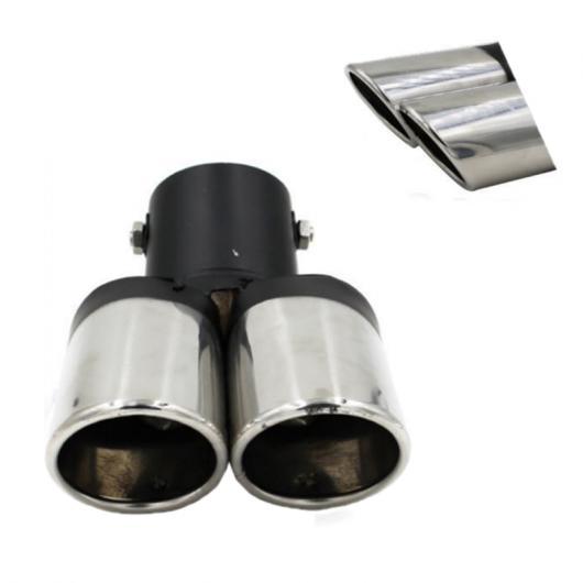AL 汎用マフラーチップ マフラーカッター 1個 ブラック ステンレス スチール 1to2 デュアル パイプ エキゾースト カバー AL-AA-9172