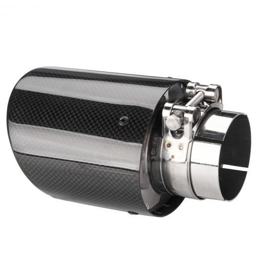 AL 汎用マフラーチップ マフラーカッター 2個 光沢 2.5インチ 63mm IN 114X95mm-OUT カーボン ファイバー エキゾースト リア パイプ AL-AA-9189