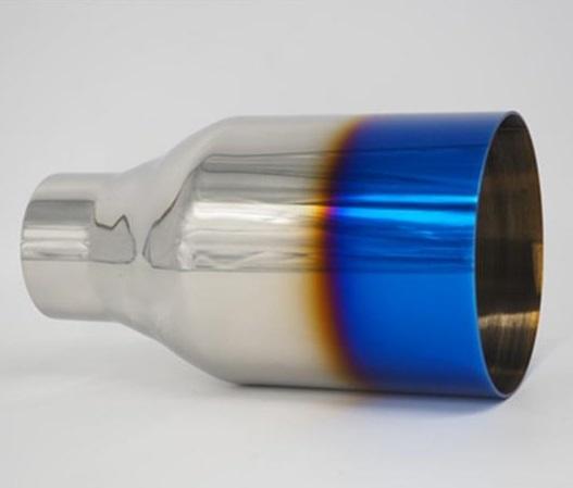 AL 汎用マフラーチップ マフラーカッター エキゾースト ブルーエンドチップ ステンレス スチール パイプ 1ピース 60mm IN 114mm OUT AL-AA-9231