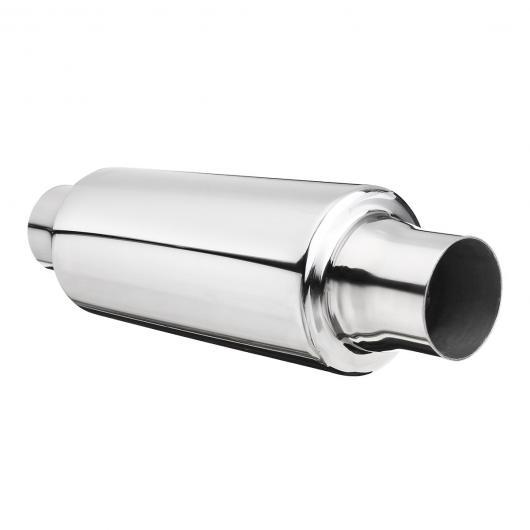 AL 汎用マフラーチップ マフラーカッター ステンレス スチール エキゾースト パイプ レゾネーター 51mm IN/OUT サイレンサー AL-AA-9242
