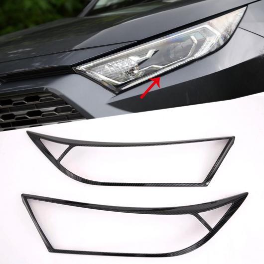 AL トヨタ RAV4 2019 ABS カーボンスタイル ブラック ヘッドライトランプ カバー トリム 選べる2バリエーション Carbon Fiber Style・Black AL-AA-9453
