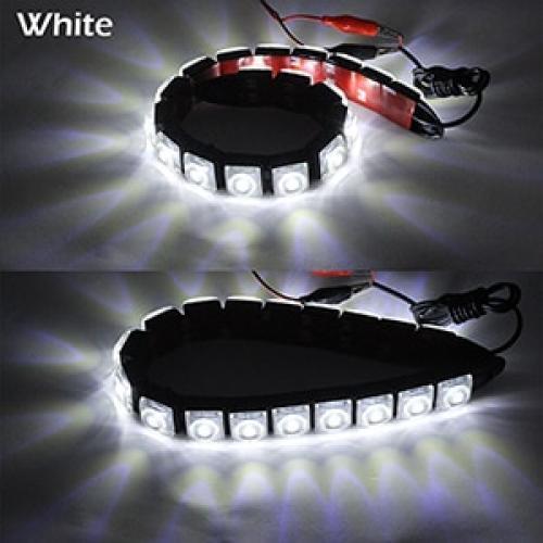 AL デイタイム ランニングライト DRL オートフレキシブル LED ストリップ ドライビング ライト デイライト フォグ ランプ 12V White 16LED Black Case AL-BB-1173