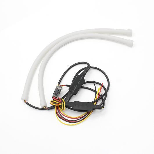 AL 2ピース DRL フレキシブル LED チューブストリップ デイタイム ランニングライトウインカーエンジェルア 60CM White turn Yellow AL-BB-1088
