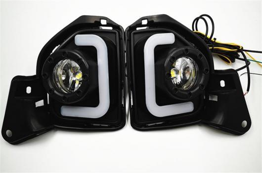 AL 点滅 2個 LED 12V ABS フォグランプ DRL デイタイムランニングライト トヨタ ハイエース 2014 2015 2016 2017 2018 ターン シグナル White and Yellow AL-BB-1223