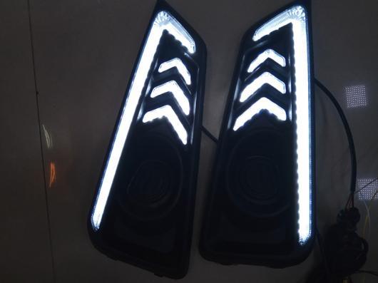 AL 点滅1セット LED DRL デイタイム ランニングライト ホンダ シティ 2015 2016 フォグ ランプ カバー ヘッドライト 12V デイライト スタイリング White and Yellow AL-BB-1318