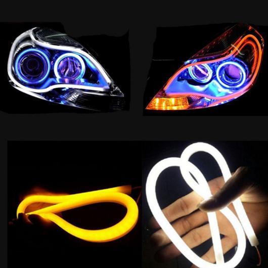 AL 2ピース 60cmシリカゲル LED DRL ターン信号外部ライト デイタイム ランニングライト オート 12V 選べる5バリエーション white~blue AL-BB-1384