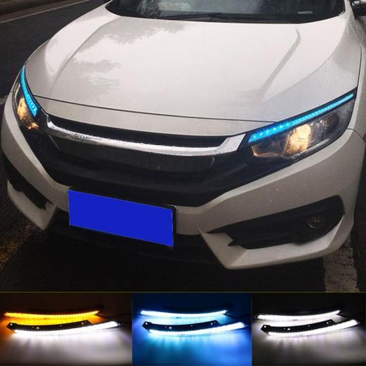 AL 点滅 LED ヘッドライト アイブロー 水 フロー デイタイムランニングライト DRL イエロー シグナル ホンダ シビック 2016 2017 AL-BB-1407