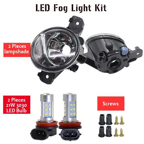 AL 日産 ウイングロード 2002 H11 フロント フォグ ライト アセンブリ ランプ シェード + バルブ デイタイムランニング DRL 12V LED Fog light kit AL-BB-1742