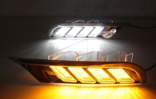 AL 日産 キックス ス 2017-2018防水 イエロー ターンシグナルリレー 12V LED DRL デイタイム ランニング ライト 昼光 フォグ ランプ white and yellow AL-BB-1748