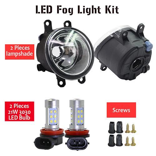 AL 日産 デュアリス J11 H11 フロント フォグ ライト アセンブリ ランプ シェード + バルブ DRL 12V 2013 2014 2015 2016 2017 2018 2019 LED Fog light kit AL-BB-1752