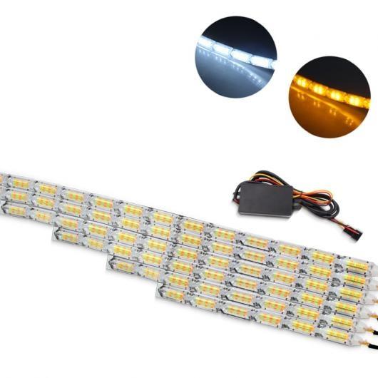 AL デイタイムランニング ライト フレキシブル DRL ホワイト アンバースイッチバック LED ストリップヘッド シーケンシャルフローターン シグナル 防水 Normal Mode 12 LED AL-BB-1723