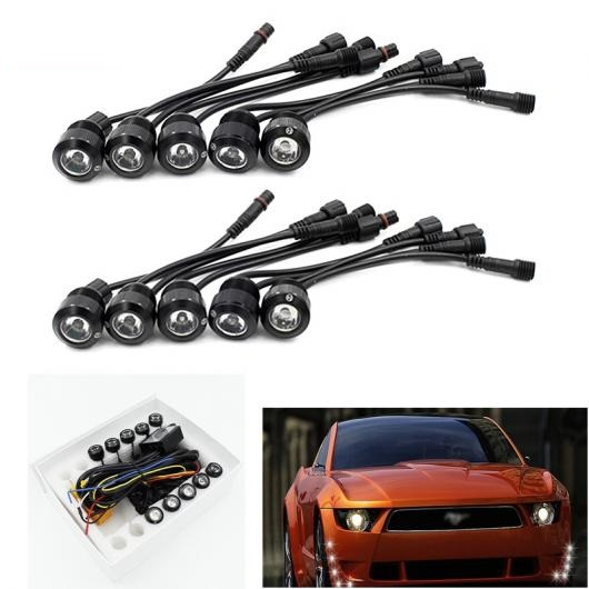 AL 徳ワイリー 10ピース セット 多機能 LED DRL デイタイム ランニング ライト ステアリングイーグルアイ オフコントローラ Trun White Light Black Body AL-BB-1737