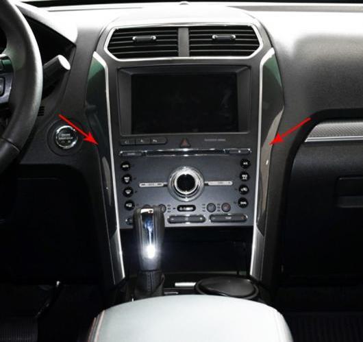 AL フォード エクスプローラー2016 2017 ABS 特殊塗料 インテリア フロント コンソールエアベント カバー パネル トリム 2ピース 選べる3バリエーション Carbon Fiber~Black Wood AL-BB-6990