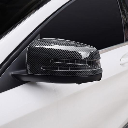 AL 2 × カーボン調 ABS クロームサイドドアバックミラーキャップ カバー メルセデスベンツ CLA GLA GLK クラス W176 W117 X156 X204 選べる2カラー ブラック・カーボン AL-DD-5402