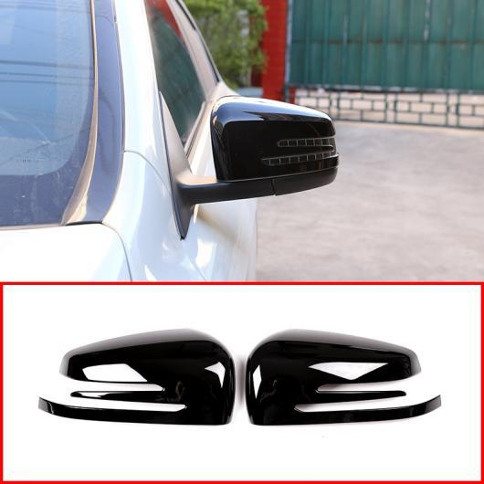 AL 2 × 光沢 ブラック ABS クロームサイドドアバックミラーキャップ カバー メルセデスベンツ CLA GLA GLK クラス W176 W117 X156 X204 選べる2カラー ブラック・カーボン AL-DD-5404
