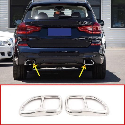 AL 2個 クローム 光沢 ブラック 304 ステンレス スチール BMW X3 G01 X4 G02 2018 2019 エキゾースト テールパイプ カバー トリム 選べる2カラー ブラック・シルバー AL-DD-5440
