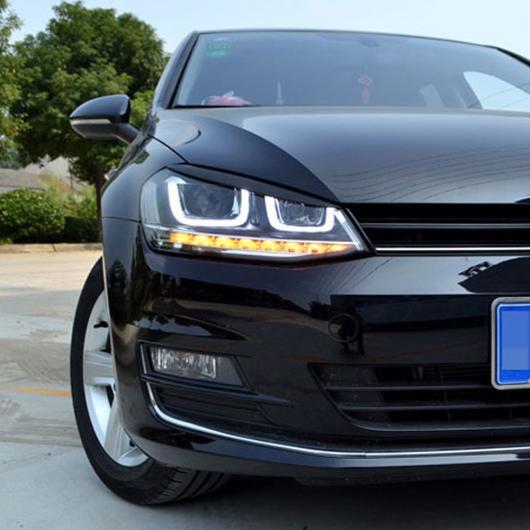 AL フォルクスワーゲン VW ゴルフ 7 VII GTI GTD R MK7 ABS クロームヘッドライトランプ アイブロー アイリッド カバー ステッカー スタイリング Carbon Fiber Black AL-DD-6822