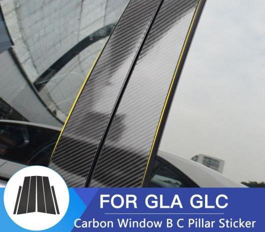 AL 車用外装パーツ 適用: メルセデスベンツ GLA GLC メルセデスベンツ GLA GLC ステッカー カーボンファイバー ウインドウ B ピラー トリム モールディング GLA 2013-2018 6個・GLC 2015-2018 6個 AL-DD-7626