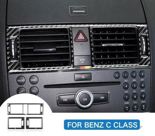 AL 車用内装パーツ 適用: メルセデスベンツ Cクラス W204 コンソール エア 吹き出し口 フレーム ステッカー トリム デカール セントラル ドイツ・サイド ピュア カーボン AL-DD-7691