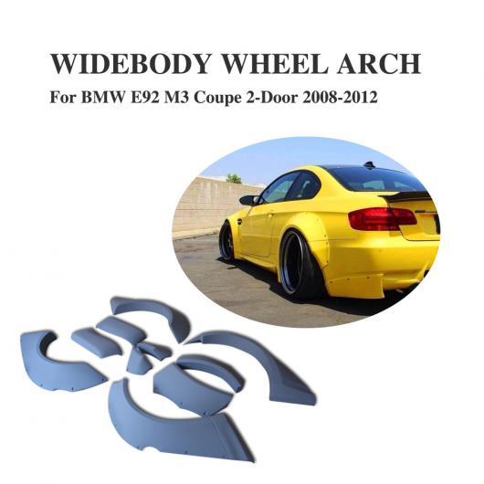 AL 車用外装パーツ 10個セット ワイドボディー ホイール アーチ カバー フェンダー フレア トリム 適用: BMW 3 シリーズ E92 M3 2008-2012 PU 未塗装 グレー AL-DD-7768