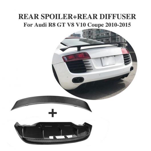 AL 車用外装パーツ カーボンファイバー リア トランク ブート リップ スポイラー ウイング リア バンパー ディフューザー 適用: アウディ R8 GT V8 V10 2010-2015 2個セット AL-DD-8148