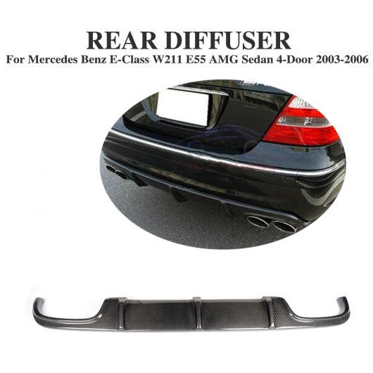 AL 車用外装パーツ カーボンファイバー リア バンパー ディフューザー リップ スポイラー 適用: メルセデスベンツ Eクラス W211 E55 AMG セダン 4ドア 2002-2006 AL-DD-8239