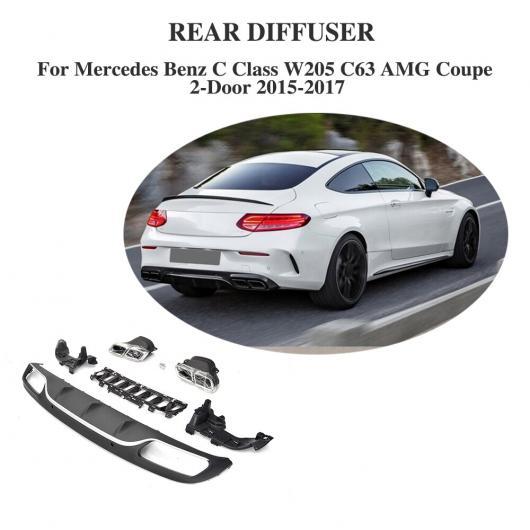 AL 車用外装パーツ PP リア バンパー リップ スポイラー ディフューザー エキゾースト マフラー 適用: メルセデスベンツ Cクラス W205 C63 AMG クーペ 2ドア 15-17 AL-DD-8300