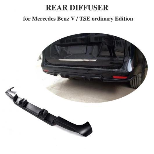 AL 車用外装パーツ BLACK PU リア ディフューザー リップ スポイラー バンパー ガード 適用: メルセデスベンツ Vクラス ヴィト 市販車 ミニ パッセンジャー VAN 4 ドア 16-18 AL-DD-8424