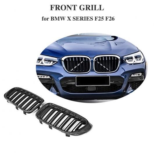 AL 車用外装パーツ カーボンファイバー グロス ブラック フロント バンパー グリル グリル 適用: BMW F25 X3 F26 X4 SUV 4 ドア 2014-2017 AL-DD-8688