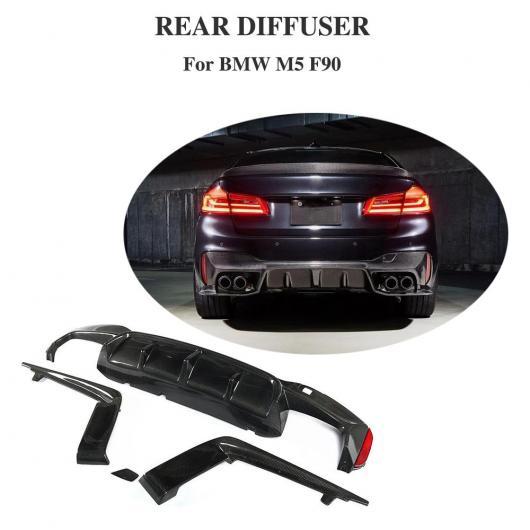 AL 車用外装パーツ 3個 カーボンファイバー リア バンパー リップ ディフューザー スポイラー 適用: BMW 5 シリーズ F90 M5 2017 2018 2019 バンパー ガード AL-DD-8729