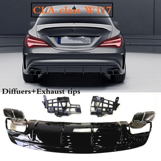 AL 車用外装パーツ W117 ABS リア バンパー ディフューザー エキゾースト チップ 適用: ベンツ W117 CLA200 CLA260 CLA45 フェイスリフト 2013-20 19 ブラック~ダークグレー AL-DD-8770